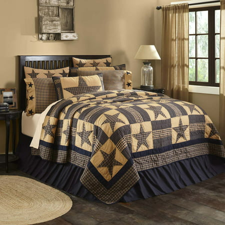 Dark Khaki Tan Primitive Bedding Cody Navy Star Cotton Pre-Washed Patchwork Star King Quilt
