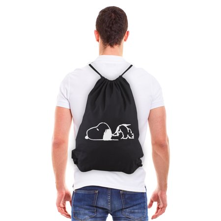 Snoopy Laying Flat Eco-friendly Reusable Canvas Draw String Bag Black &