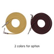 Muslady Electric Guitar Bass Musical Instrument Cable Cord with 6.35mm TS Straight to Right-angle Plugs Woven Jacket, 3 Meters/ 10 Feet