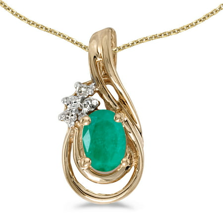 """14k Yellow Gold Oval Emerald And Diamond Teardrop Pendant with 18"""" Chain"""