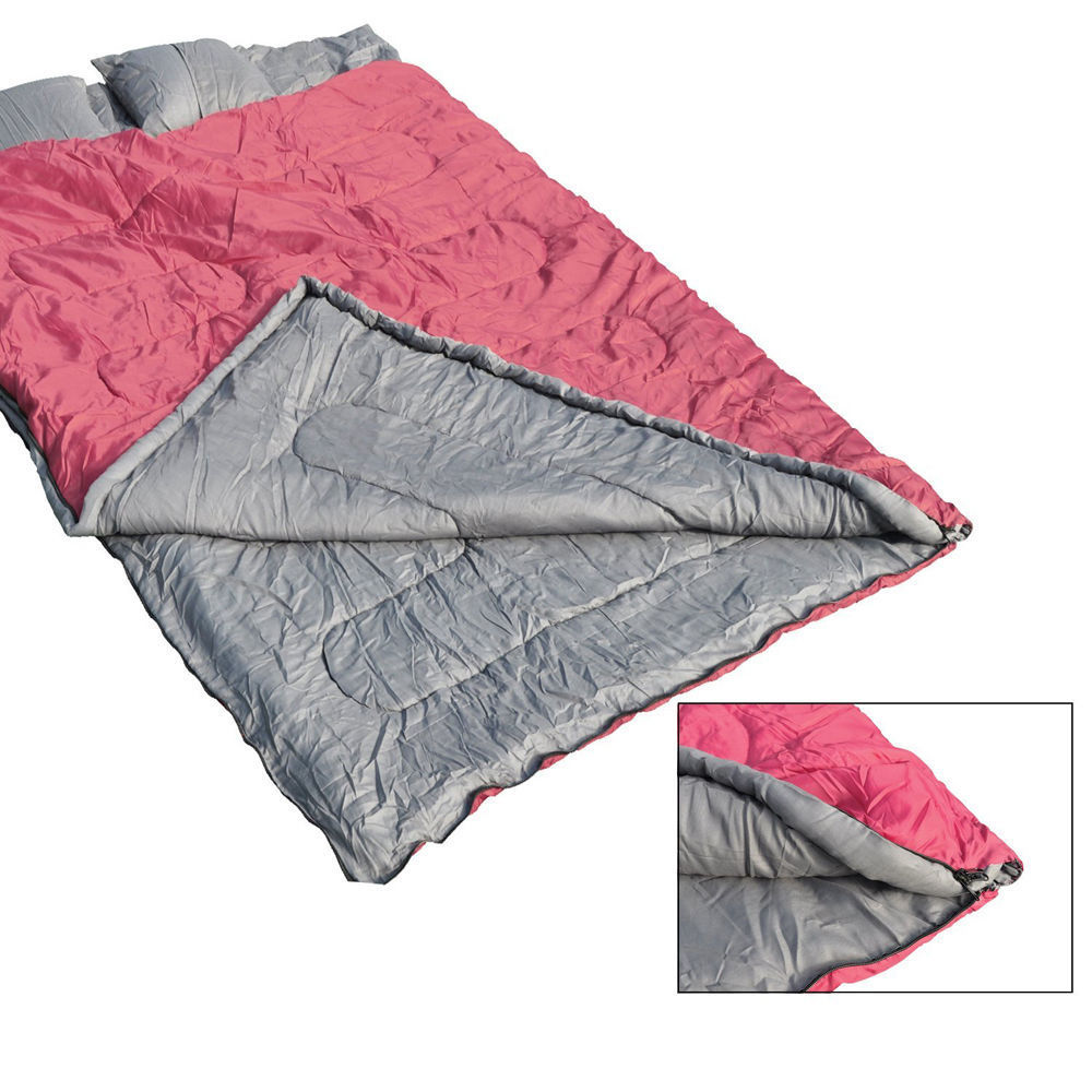 2 Person Double Sleeping Bag w 2 Pillows Outdoor Wide for Camping Hiking 23F -5� by