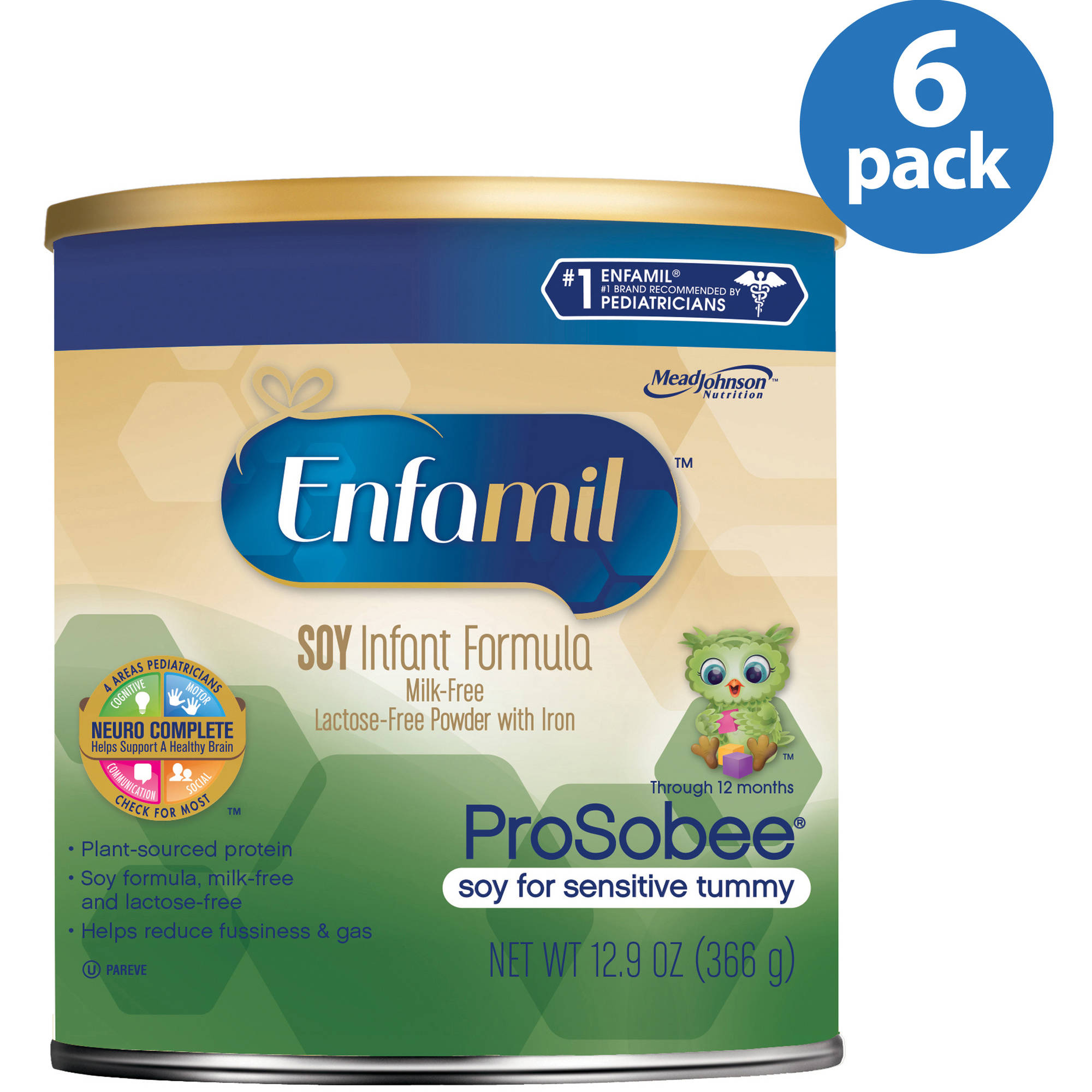 Enfamil Prosobee soy baby formula - 12.9 oz Powder Can (Pack of 6)