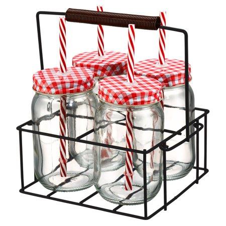 Artland Gingham Sipper Jar and Row Caddy Set