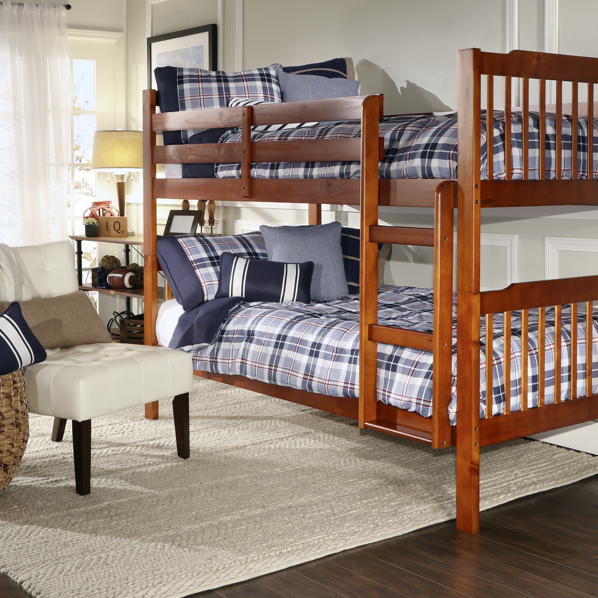 Chelsea Lane Elise Convertible Twin Over Twin Wood Bunk Bed, Multiple Finishes