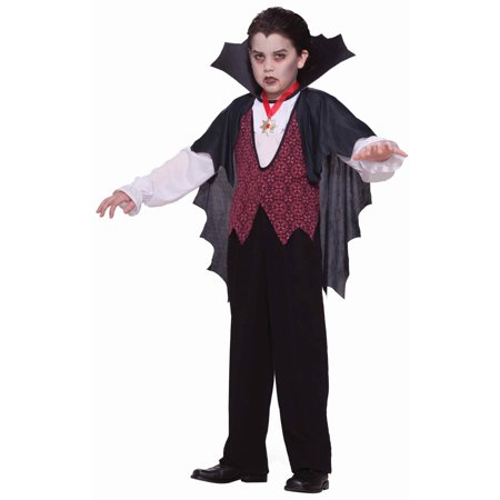 Dracula Vampire Black & Red Gothic Royal Bat Boy Childs Halloween Costume