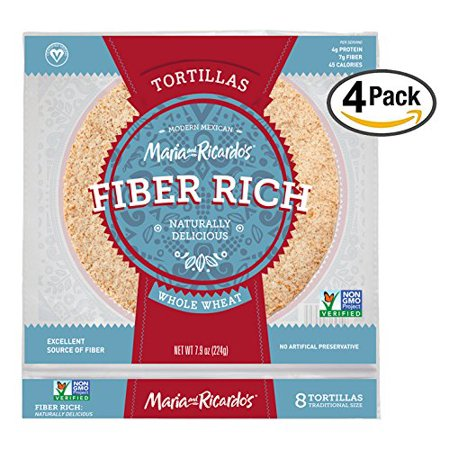 Low Carb Tortillas, 3 Net Carbs, Non-GMO Project Verified, Maria and Ricardo's Fiber Rich Whole Wheat Tortillas, Certified Vegan, Keto-Friendly, 7.9 oz. (4 (Best Whole Wheat Tortillas)