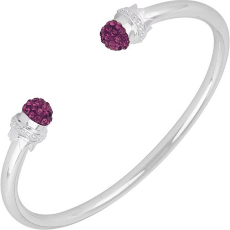 Purple Pave Crystal Silver-Plated Rhodium Fireball Endcap Cuff Bangle Bracelet