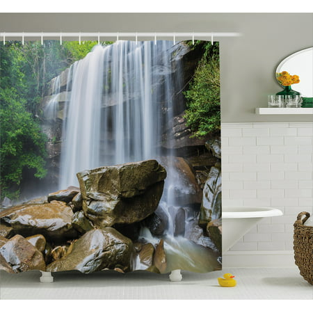 Waterfall Decor Shower Curtain, Waterfalls Surrounded by Rocks and ...