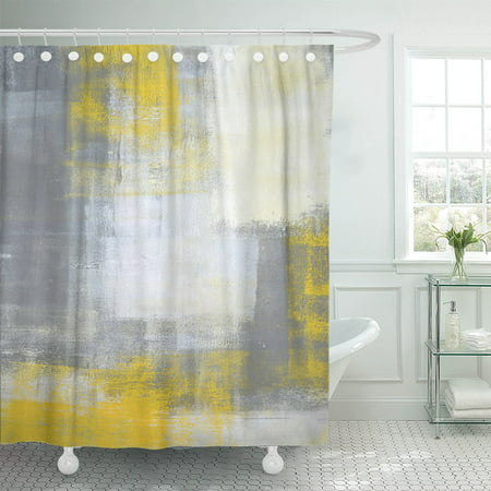 PKNMT Gray Blocks Grey and Yellow Abstract Painting Contemporary Gallery Polyester Shower Curtain 60x72 inches - Yellow Shower