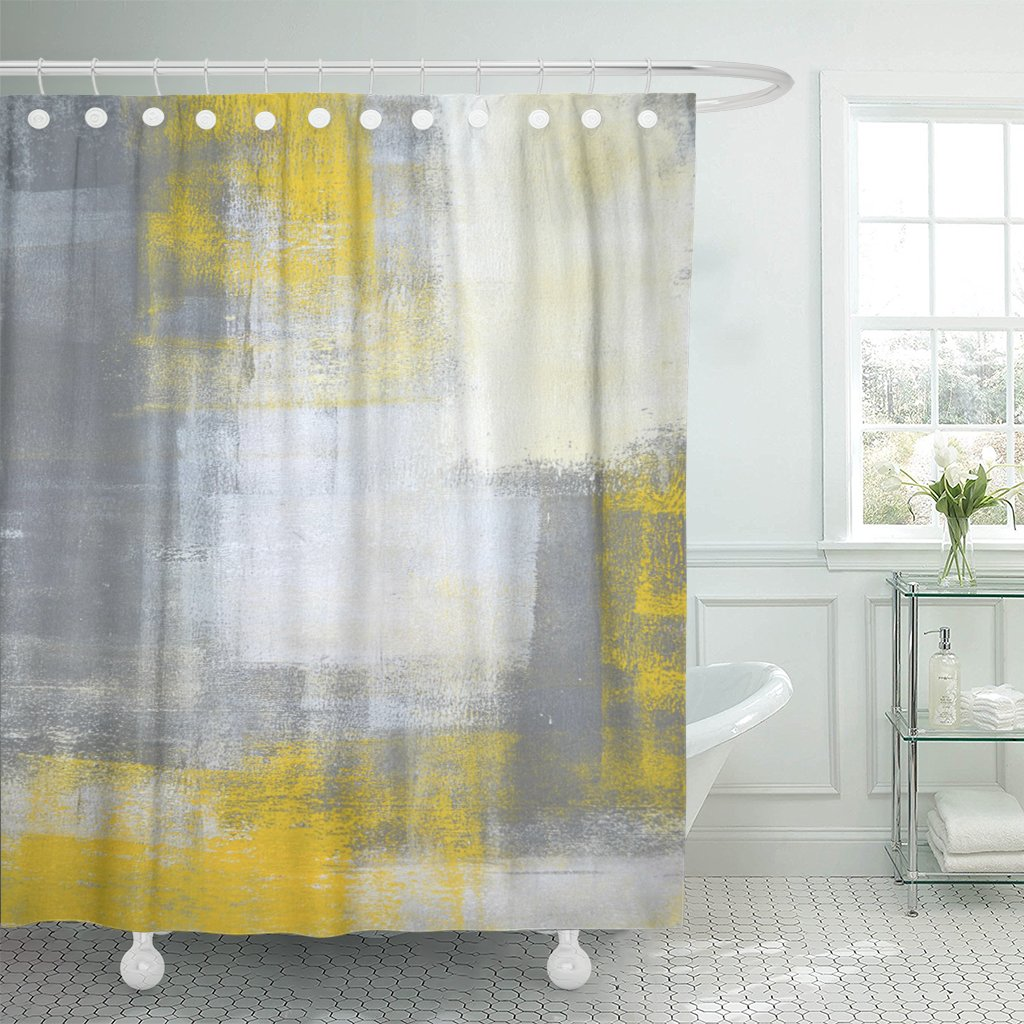 PKNMT Gray Blocks Grey and Yellow Abstract Painting Contemporary Gallery Polyester Shower Curtain 60x72 inches