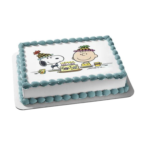 Peachy Peanuts Happy Birthday Charlie Brown Snoopy Cake Party Hats Edible Funny Birthday Cards Online Alyptdamsfinfo