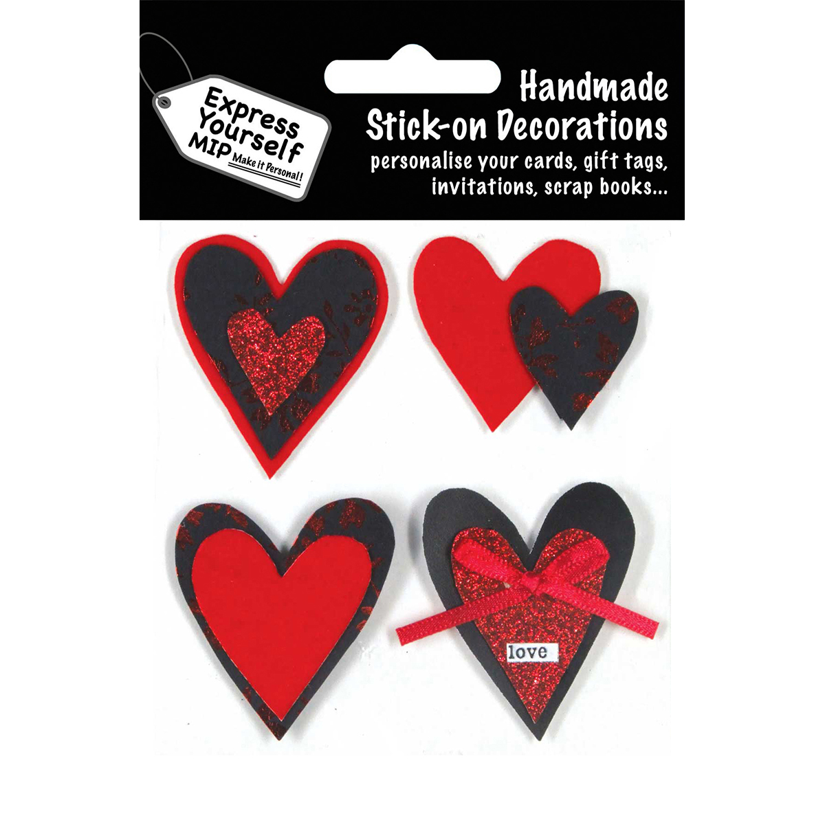 Express Yourself MIP 3D Stickers-Hearts - Red & Black
