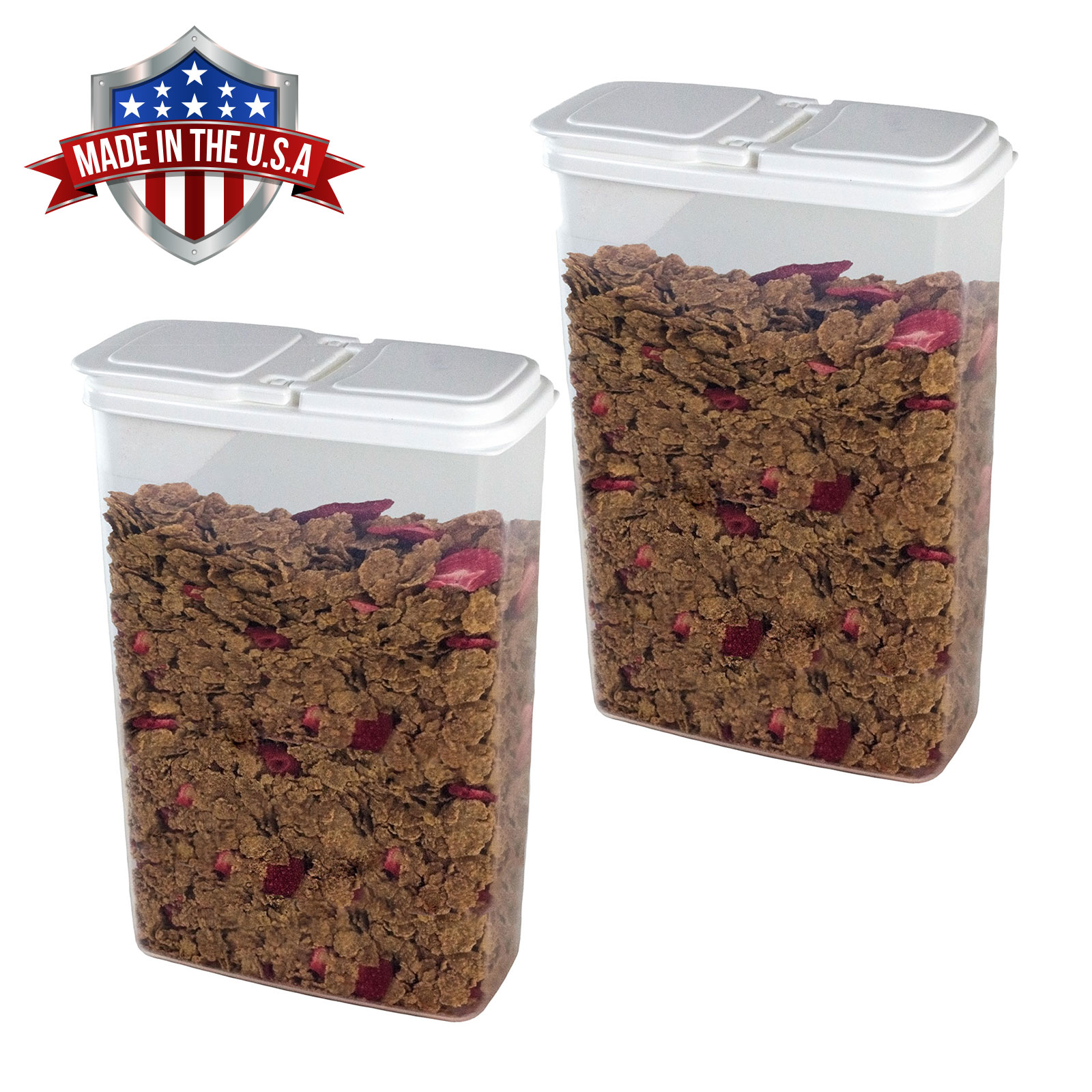 2 Pack of 4 Qt Cereal Snack Keeper Food Storage Dispenser Container Flip Top Lid