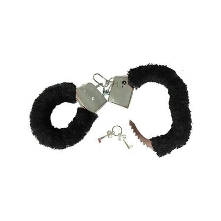 Fuzzy Alligator - Soft Steel Fuzzy Black Furry Handcuffs Hand Cuffs