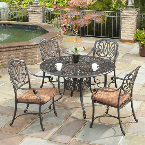Home Styles Floral Blossom 5-Piece Patio Dining Set, Charcoal