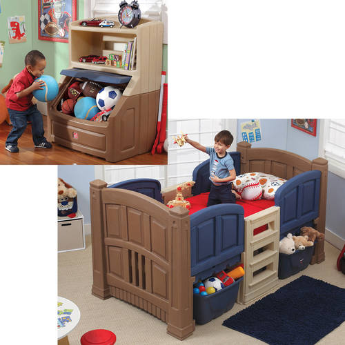 Step2 Boys' Loft & Storage Twin Bed w/Bookcase Storage Chest Bundle