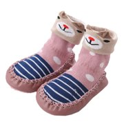 Unisex Baby Toddler Animals Print Cotton Socks Slipper Anti-Slip Crib Shoes (12/6-12 Months, Rose/Bear)