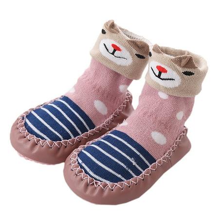 Unisex Baby Toddler Animals Print Cotton Socks Slipper Anti-Slip Crib Shoes (12/6-12 Months, Rose/Bear)](Toddler Glass Slippers)