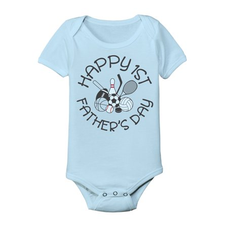 Light Blue Happy 1st Father's Day Infant One Piece Baby Bodysuit