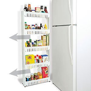 Unique Imports Slim Storage Cabinet Organizer Slide Out Cart Rack With Wheels For Narrow Es In