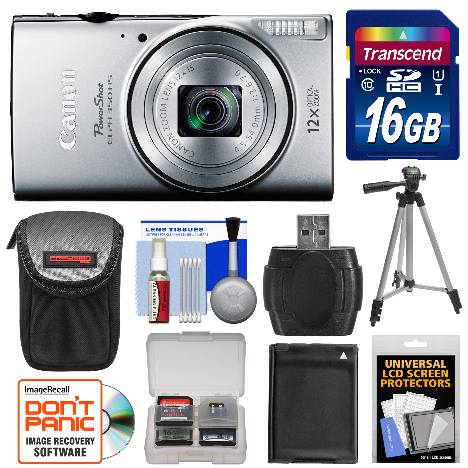 Canon PowerShot Elph 350 HS Wi-Fi Digital Camera (Silver) with 16GB Card + Battery + Case + Tripod + Reader + Kit
