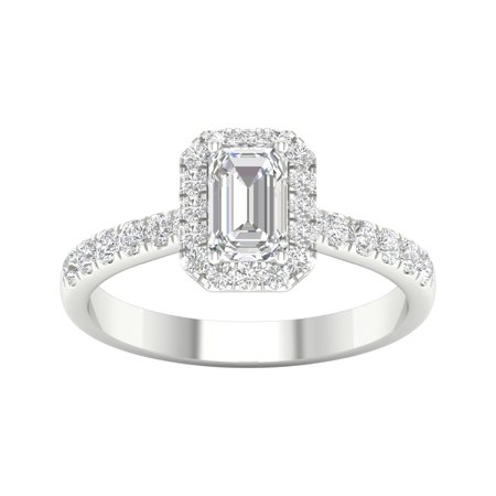 IGI Certified Imperial 1 Ct TDW Emerald Diamond Halo Engagement Ring in 10K White Gold (H-I, I2)