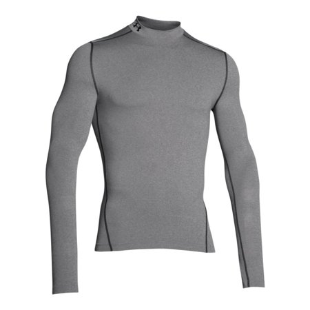 Body Armour Clothing (Men's UA ColdGear Armour Compression Mock - True Grey Heather/Black,)