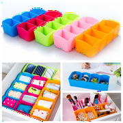 Plastic 4 Grid Underwear Storage Box Organizer Drawer Divider Tie Socks Jewelry Cosmetic Makeup Multicolor