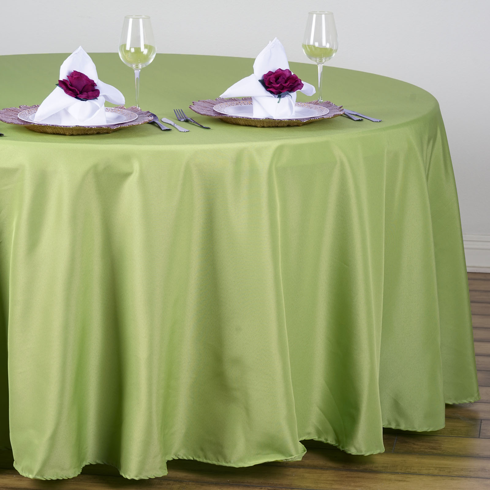 "BalsaCircle 108"" Round Polyester Tablecloth for Party Wedding Reception Catering Dining Home Table Linens"