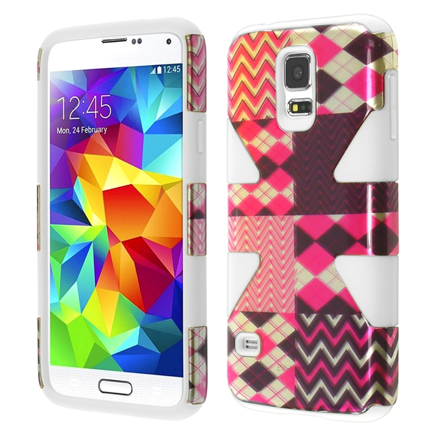 Insten Hot Chevron+White Hybrid Shockproof Rugged Dynamic Hard Protective Case Cover For Samsung Galaxy SV S5