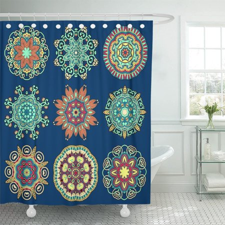 KSADK Abstract Circle Lace Round Ornamental Geometric Doily Pattern Collection Raster Ancient Shower Curtain Bathroom Curtain 60x72 inch ()