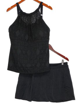 Denim & Co. Plus Sz Swimsuit 20W Lace High Neck Tankini With Skirt Black A350350