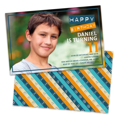 Personalized Happy Birthday Diagonal Stripes Photo Kids Party Invitations