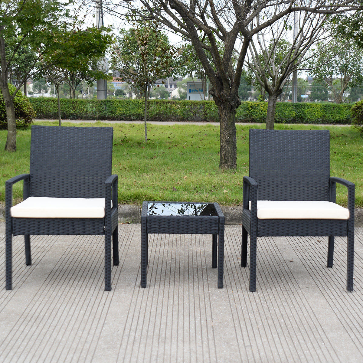 3 PS Outdoor Rattan Patio Furniture Set Backyard Garden Furniture Image 3