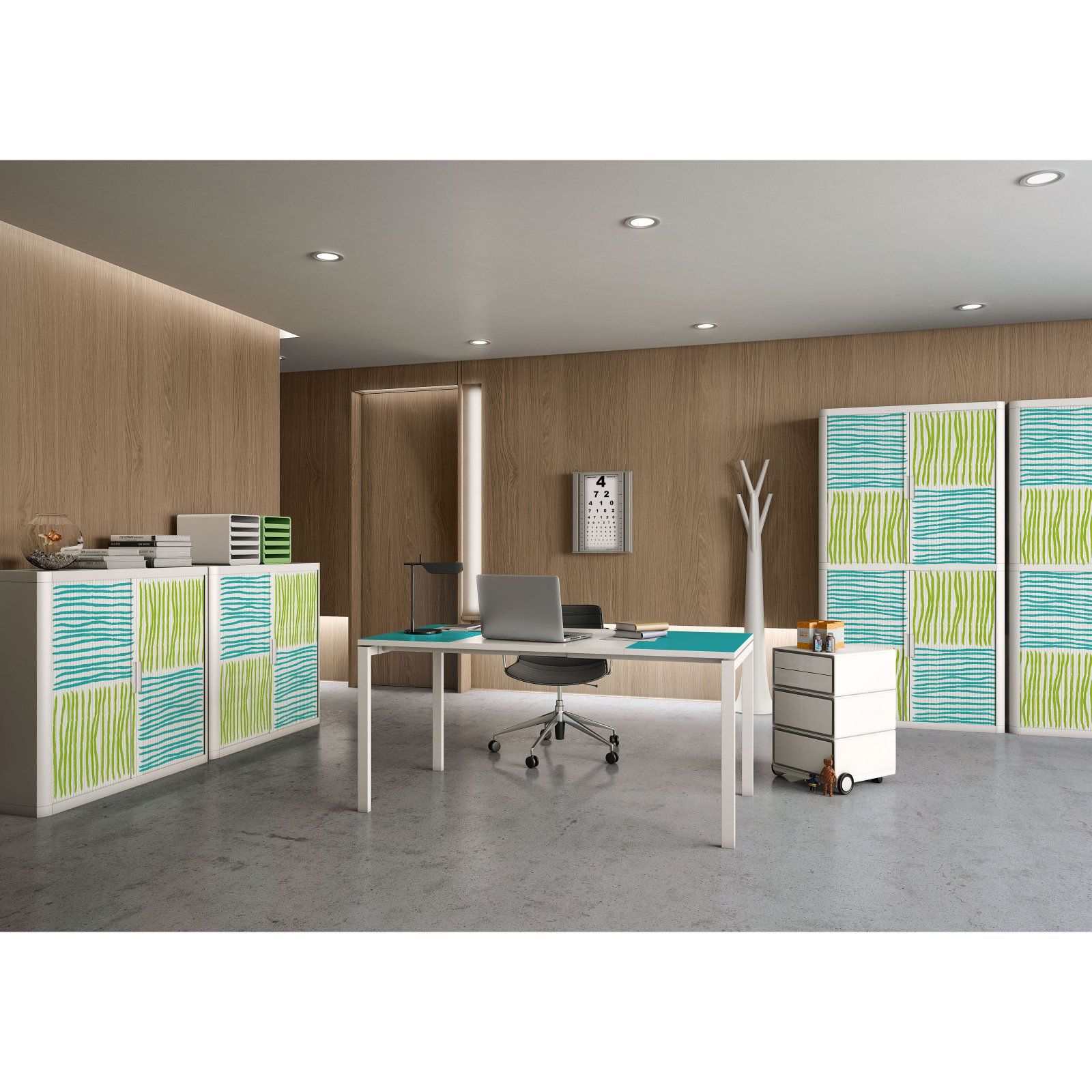 "Paperflow easyOffice Storage Cabinet, 41"" Tall with Two Shelves, Blue and Green Squares/Lines"