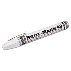 White Bullet Tip - ITW PRO BRANDS 253-40008 BRITE-MARK 40 Paint Marker, Bullet Tip, White