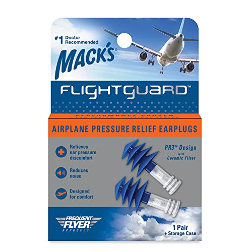 1 Pair Mack's Flightguard Airplane Pressure Relief Ear Discomfort Noise Plugs
