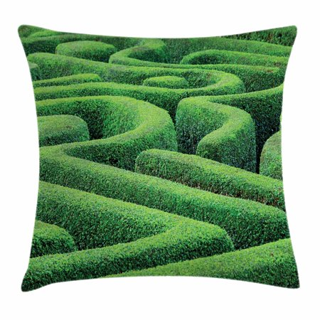 Garden Throw Pillow Cushion Cover, Green Plant Maze Growth Ecology and Nature Theme Labyrinth Landscape Outdoors City Park, Decorative Square Accent Pillow Case, 18 X 18 Inches, Green, by Ambesonne