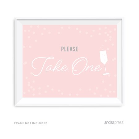 Please Take One Blush Pink and Gray Pop Fizz Clink Wedding Party Signs - Pop Fizz