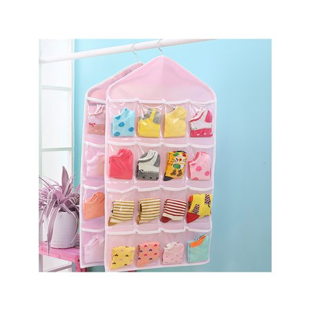 TSV 16 Pockets Pink Clear Over Door Hanging Bag Shoe Rack Hanger Storage Organizer Holder