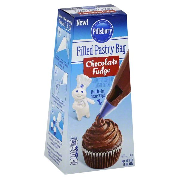 (3 Pack) Pillsbury Filled Pastry Bag Chocolate Fudge Flavored Frosting, 16-Ounce