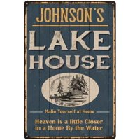 JOHNSON'S Lake House Blue Cabin Home Decor 8 x 12 High Gloss Metal 208120038002