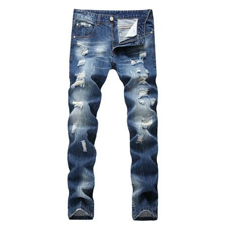 Hemiks Men's Casual Ripped Straight Broken Hole Legs Denim Pants For Men - Mariachi Pants For Sale