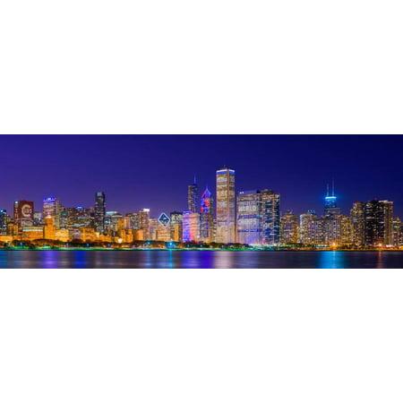 Chicago skyline with Cubs World Series lights night, Lake Michigan, Chicago, Cook County, Illino... Print Wall Art (Lake Michigan Chicago Halloween)