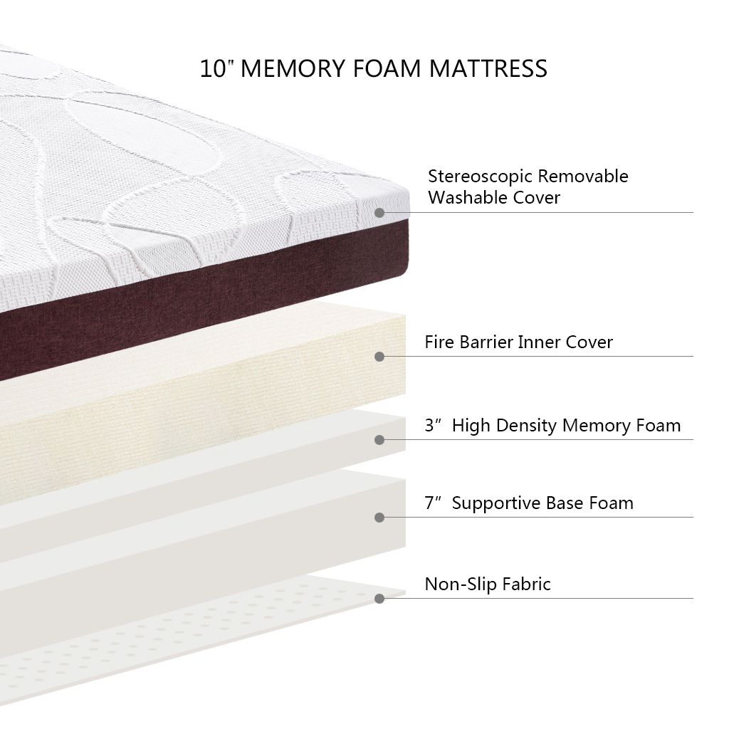 langria deluxe high density memory foam mattress 10 inch queen walmartcom