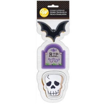 Wilton Halloween Bat Skull Tombstone 3 Pc Cookie Cutter (Happy Halloween Cookie)