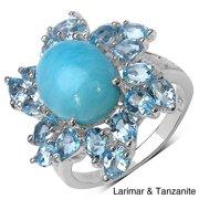 JEWELRYAUCTIONSTV Sterling Silver Gemstone Flower Ring