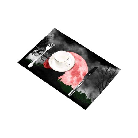YUSDECOR Cool Wolf Howling at Red Moon Placemats Table Mats for Dining Room Kitchen Table Decoration 12x18 inch,Set of 4 - image 4 of 4