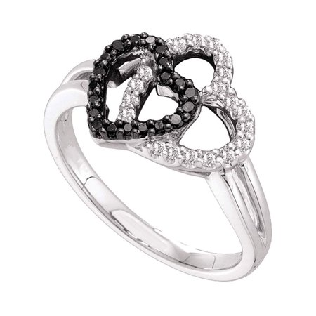 14kt White Gold Womens Round Black Color Enhanced Diamond Double Heart Ring 1/3 Cttw - image 1 of 1