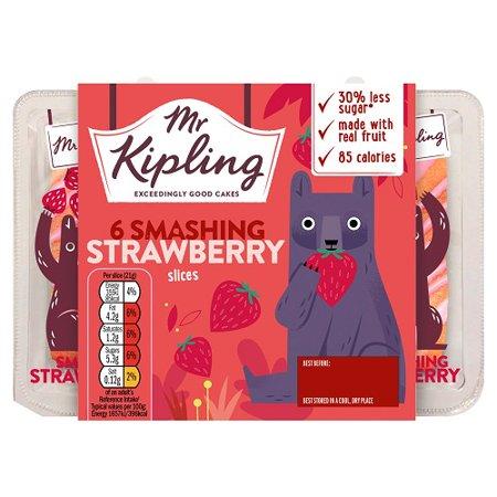 Mr Kipling 6 Smashing Strawberry Slices 6pk Pack Of 3